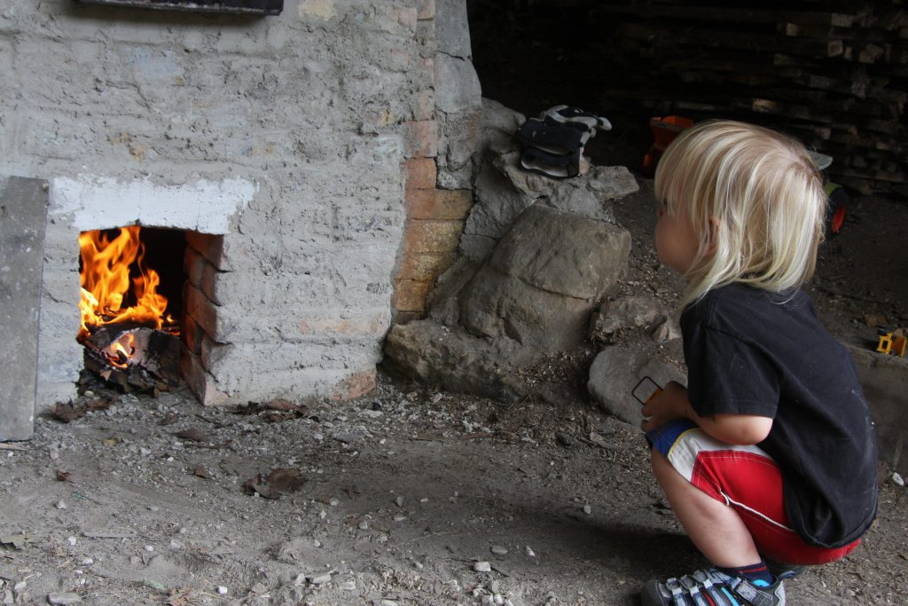 firing the wood-fired kiln