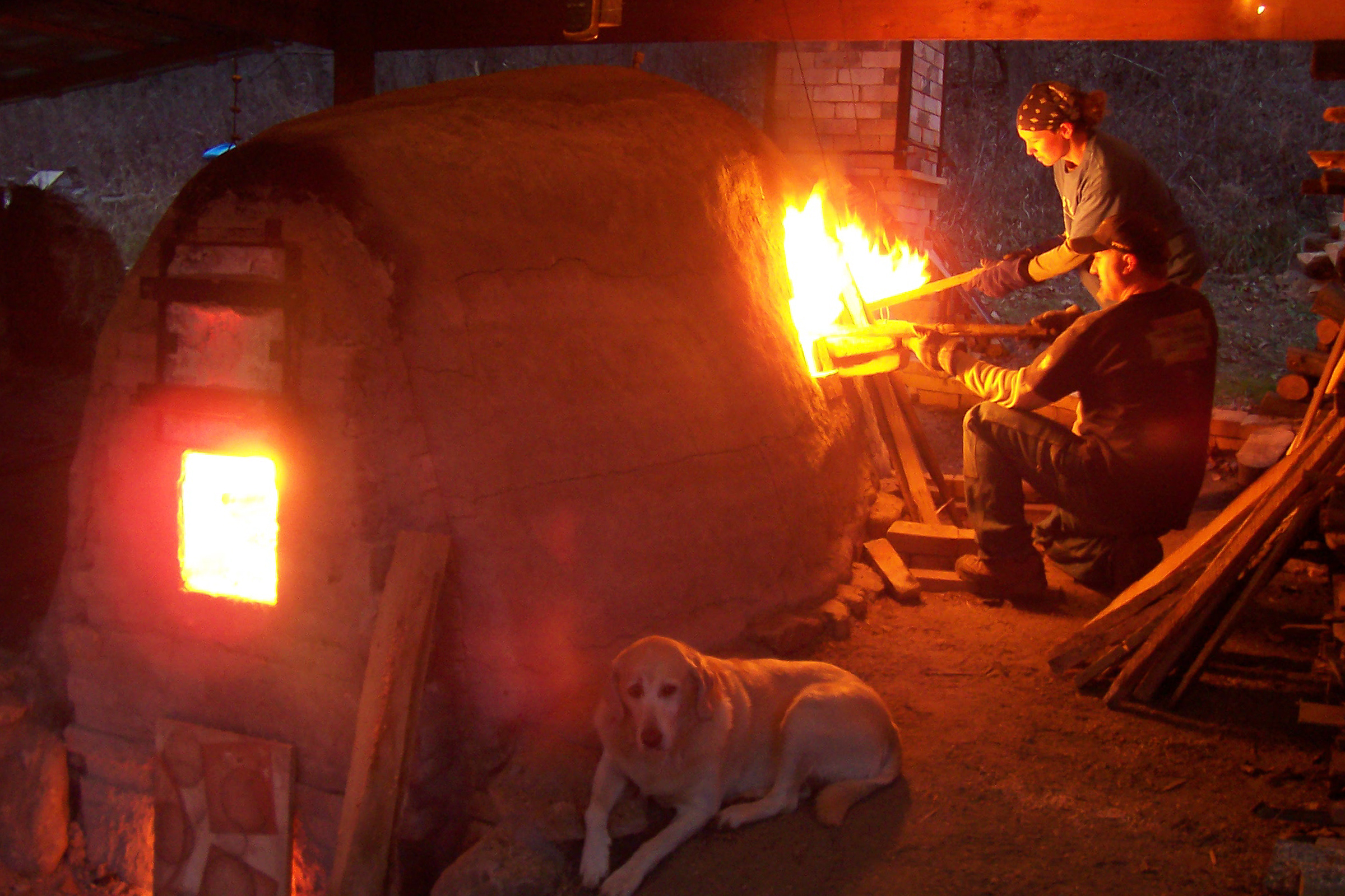 wood-fired kiln in action