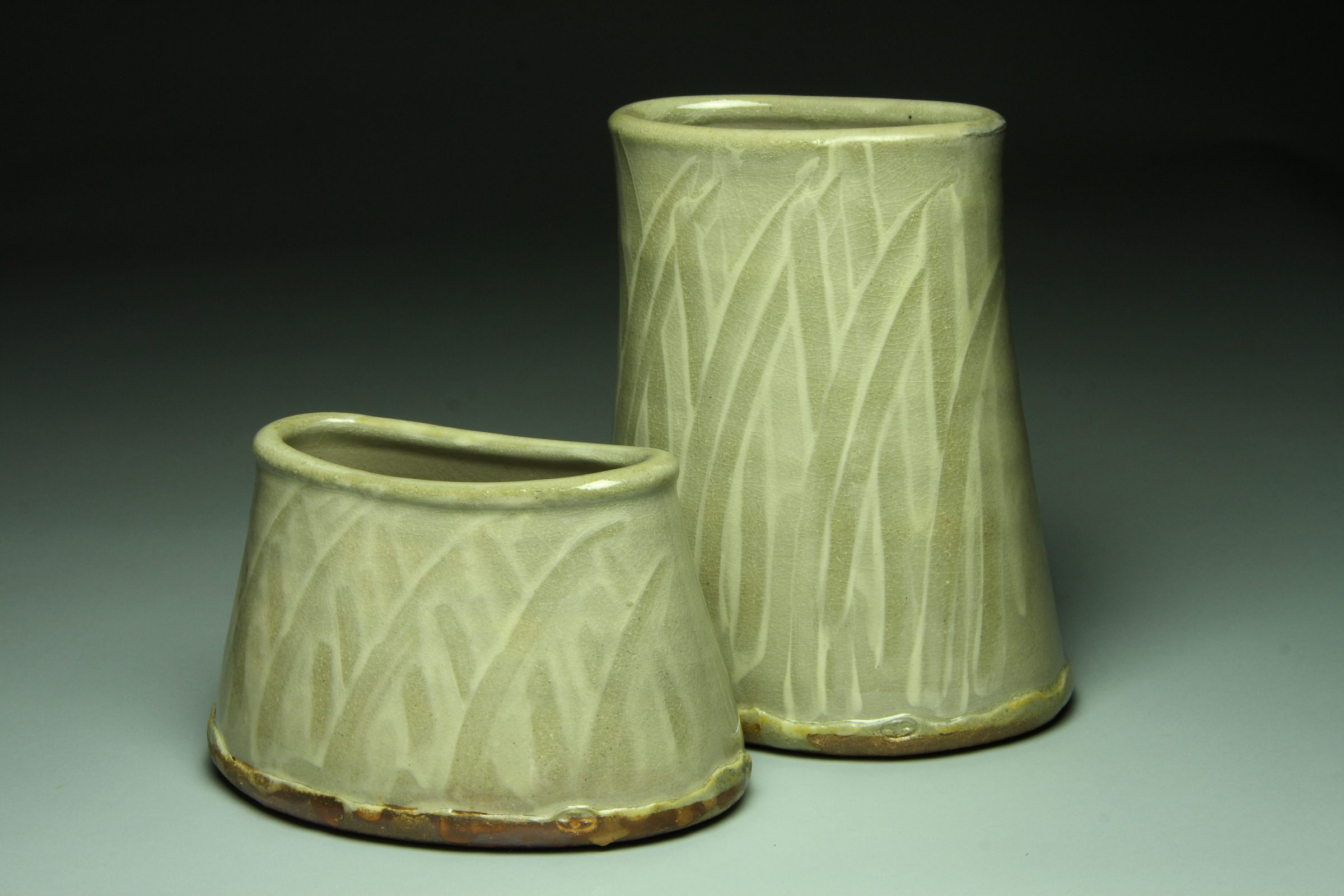 wood-fired vases with pattern