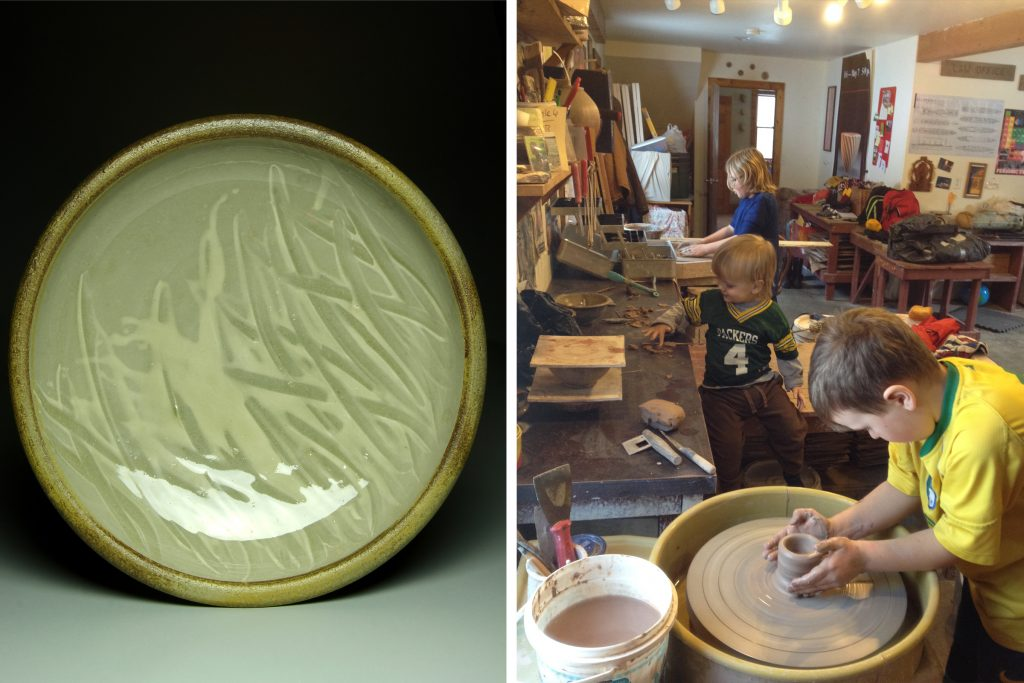 wood-fired platter and kids in the studio